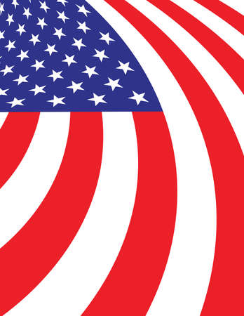 A curving and waving abstract American flag background illustration. Illustration