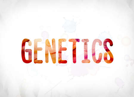 The word Genetics concept and theme painted in colorful watercolors on a white paper background. 版權商用圖片