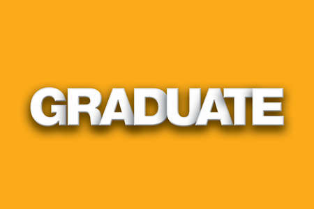 The word Graduate concept written in white type on a colorful background.