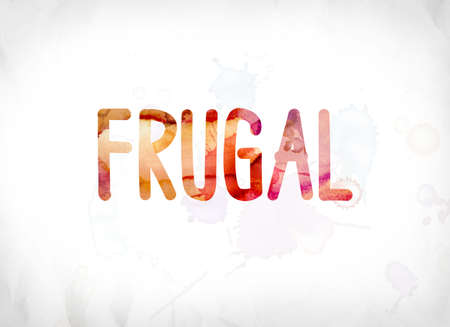 The word Frugal concept and theme painted in colorful watercolors on a white paper background.