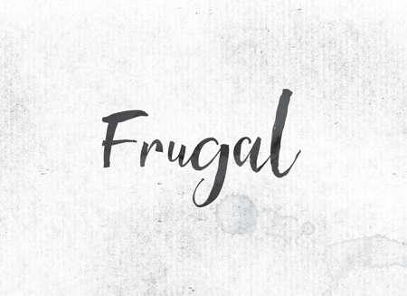 The word Frugal concept and theme painted in black ink on a watercolor wash background.