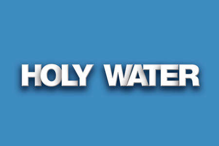 The words Holy Water concept written in white type on a colorful background. Stock Photo