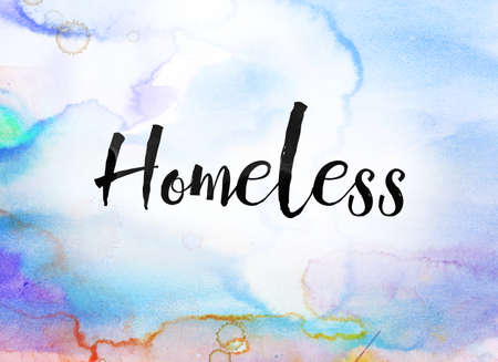 The word Homeless concept and theme written in black ink on a colorful painted watercolor background. Stock Photo