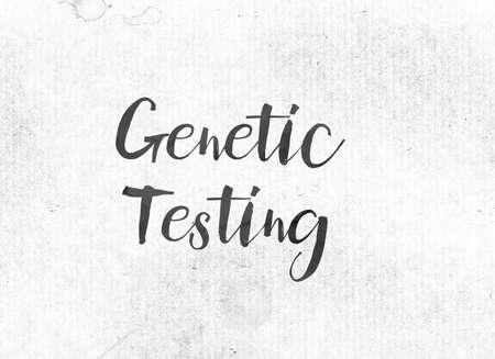 단어 유전 테스트 개념 및 테마 수채화 씻어 배경에 검정 잉크 색칠.