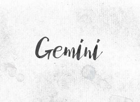 The word Gemini concept and theme painted in black ink on a watercolor wash background.