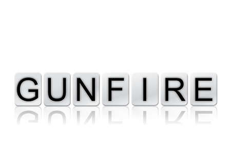 The word Gunfire concept and theme written in white tiles and isolated on a white background. Stock Photo