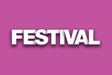 The word Festival concept written in white type on a colorful background.