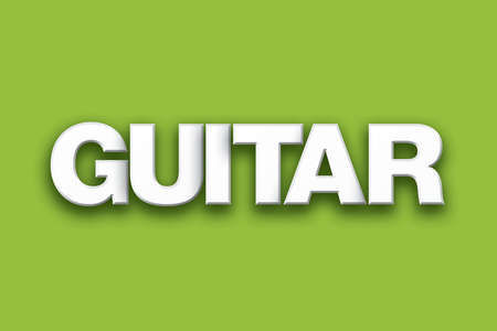 The word Guitar concept written in white type on a colorful background.