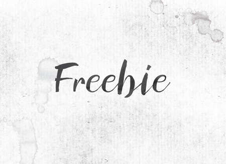 The word Freebie concept and theme painted in black ink on a watercolor wash background. Stock fotó
