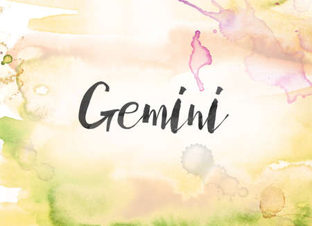 The word Gemini concept and theme written in black ink on a colorful painted watercolor background.