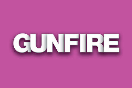 The word Gunfire concept written in white type on a colorful background.