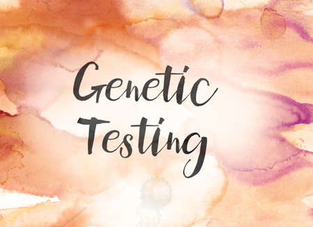 The words Genetic Testing concept and theme written in black ink on a colorful painted watercolor background. Stok Fotoğraf