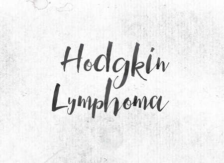 The words Hodgkin Lymphoma concept and theme painted in black ink on a watercolor wash background. Stock Photo