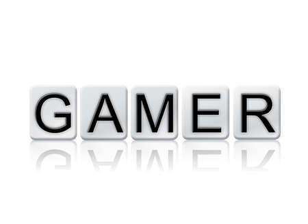 게이머 개념 및 테마 흰색 타일에서 작성 하 고 흰색 배경에 고립 된 단어.