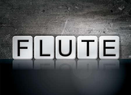 단어 플 룻 개념 및 어두운 배경에 흰색 타일에서 작성 된 테마.
