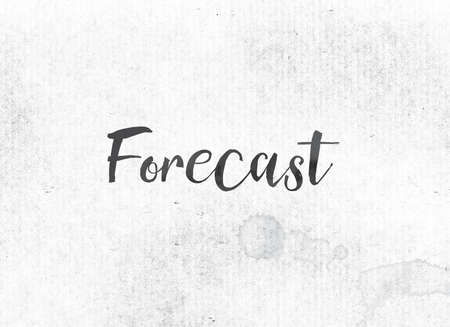 The word Forecast concept and theme painted in black ink on a watercolor wash background. Imagens