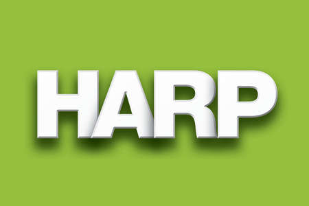 The word Harp concept written in white type on a colorful background.