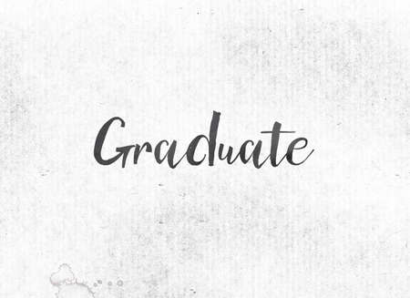 The word Graduate concept and theme painted in black ink on a watercolor wash background.