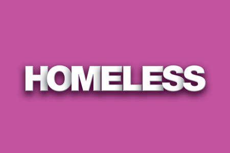 Het woord Dakloze concept geschreven in witte letters op een kleurrijke achtergrond.