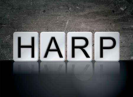 하프 개념 및 테마 어두운 배경에 흰색 타일에서 작성 된 단어. 스톡 콘텐츠