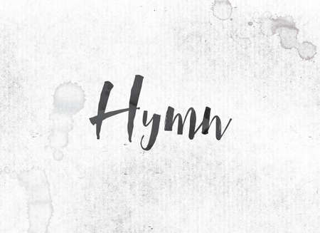 The word Hymn concept and theme painted in black ink on a watercolor wash background.