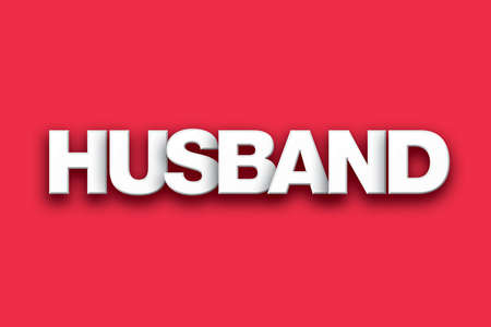 The word husband concept written in white type on a colorful background.