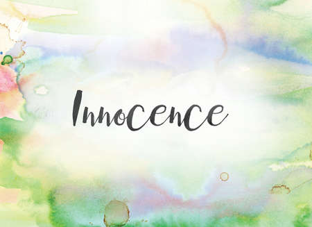 The word Innocence concept and theme written in black ink on a colorful painted watercolor background.