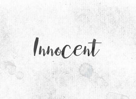 The word Innocent concept and theme painted in black ink on a watercolor wash background.