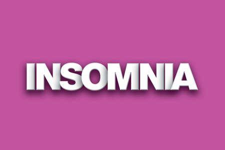 Het woord slapeloosheid concept geschreven in witte letters op een kleurrijke achtergrond.