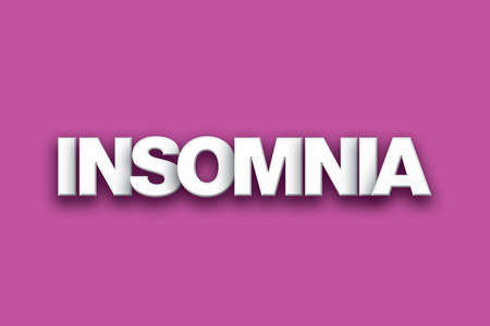 indisposition: The word Insomnia concept written in white type on a colorful background. Stock Photo