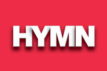 hymn: The word Hymn concept written in white type on a colorful background.