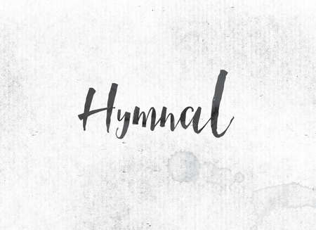 The word Hymnal concept and theme painted in black ink on a watercolor wash background. Stock Photo - 82358336