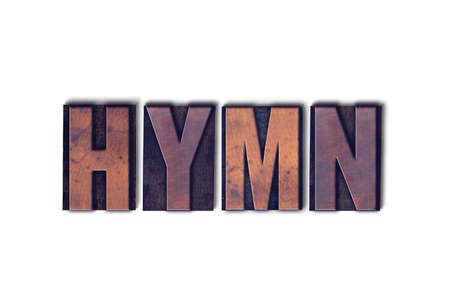 The word Hymn concept and theme written in vintage wooden letterpress type on a white background.