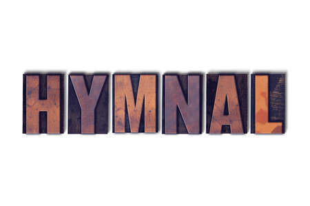 The word Hymnal concept and theme written in vintage wooden letterpress type on a white background. Stock Photo - 82358359