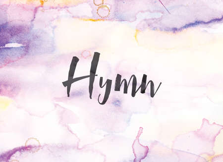 The word Hymn concept and theme written in black ink on a colorful painted watercolor background.