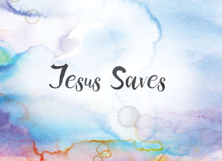 The words Jesus Saves concept and theme written in black ink on a colorful painted watercolor background.