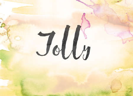 The word Jolly concept and theme written in black ink on a colorful painted watercolor background.