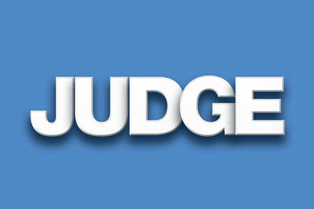 The word Judge concept written in white type on a colorful background. Imagens