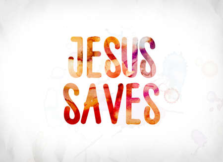 The words Jesus Saves concept and theme painted in colorful watercolors on a white paper background.