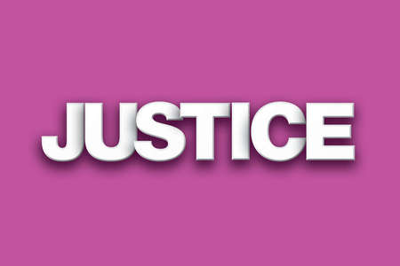The word Justice concept written in white type on a colorful background.