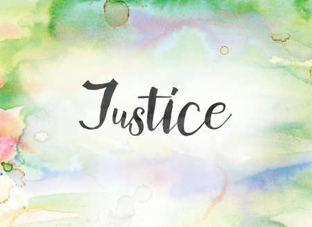 The word Justice concept and theme written in black ink on a colorful painted watercolor background. Stock Photo