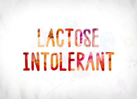The words Lactose Intolerant concept and theme painted in colorful watercolors on a white paper background. Archivio Fotografico