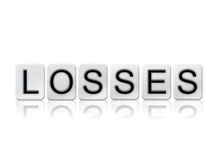 単語の損失の概念と白いタイルで書かれ、白い背景で隔離のテーマ。