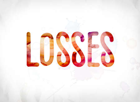 The word Losses concept and theme painted in colorful watercolors on a white paper background.