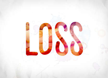 The word Loss concept and theme painted in colorful watercolors on a white paper background.