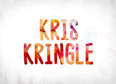 kris kringle: The name Kris Kringle concept and theme painted in colorful watercolors on a white paper background.