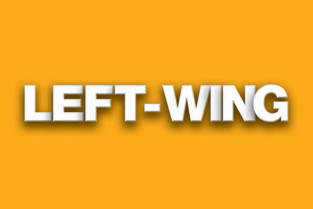 The word Left-Wing concept written in white type on a colorful background.