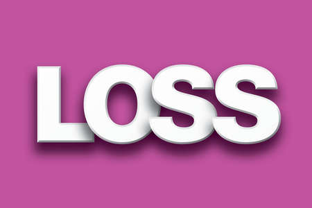 forfeiture: The word Loss concept written in white type on a colorful background. Stock Photo