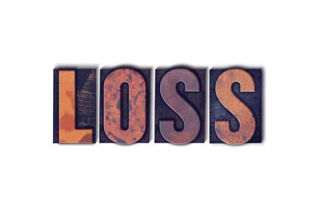 The word Loss concept and theme written in vintage wooden letterpress type on a white background.