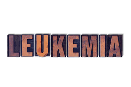 The word Leukemia concept and theme written in vintage wooden letterpress type on a white background.